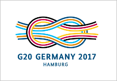 "Coloured reef knot logo of the G20 summit with the lettering ""G20 Germany 2017 Hamburg"""