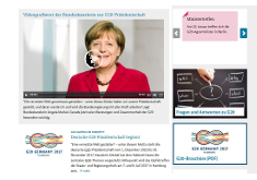 screenshot of the landing page with some articles and a photo of chancellor Angela Merkel