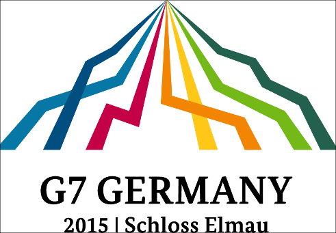 "logo of G7 presidency with coloured lines building a mountain and the writing ""G7 Germany/2015/Schloss Elmau"" below it"