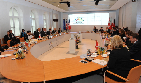 Photo: Conference table of the G7 Health Ministers' Meeting