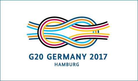 "logo of the German G20 Presidency with the coloured reef knot and ""Hamburg"" written below"